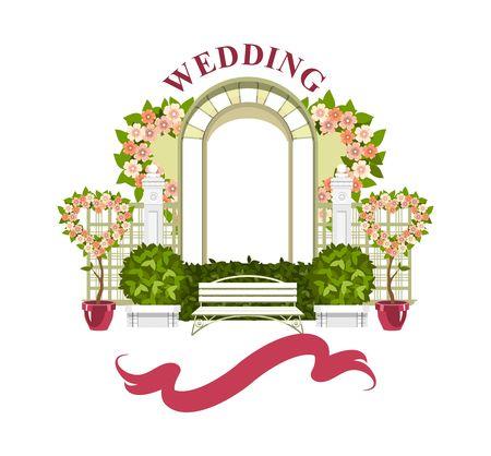 Arche de mariage sur fond blanc d'éléments végétaux et de fleurs, parc de belles figures de topiaire pour une cérémonie de mariage Vecteurs