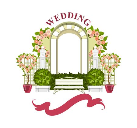 Wedding arch on a white background of plant elements and flowers, park beautiful figures of topiary for a wedding ceremony Stock Illustratie