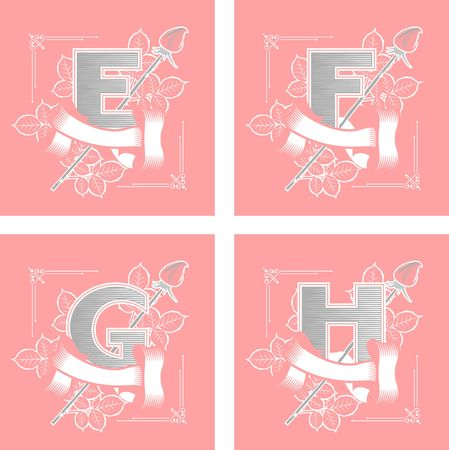 set of vector letters in rectangles decorated with ribbons and roses with leaves e, f, g, h