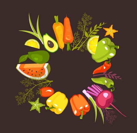 image of a circle of fresh vegetables and herbs for a healthy lifestyle on a black background