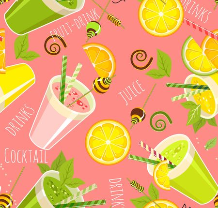 image of a seamless pattern of detox cocktail for a healthy lifestyle in a glass with a straw  イラスト・ベクター素材