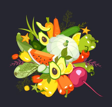 illustration of a collection of ripe vegetables herbs and fruits chopped slices on a black background isolated set Illustration