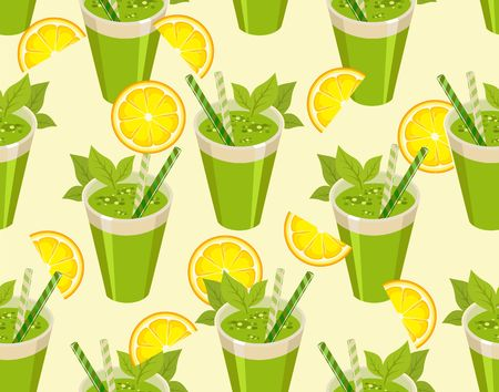 image of a seamless pattern of detox cocktail for a healthy lifestyle in a glass with a straw Illustration