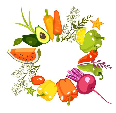 image of a circle of fresh vegetables and herbs for a healthy lifestyle on a white background