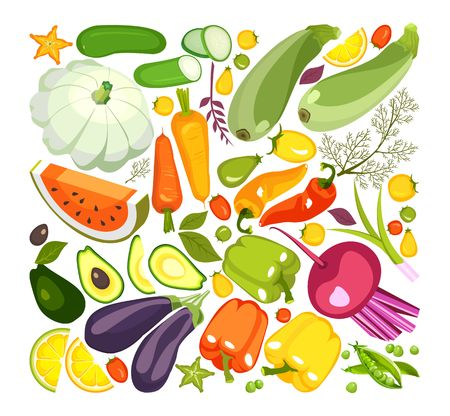 illustration of a collection of ripe vegetables herbs and fruits chopped slices on a white background isolated set