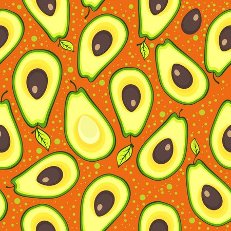 image seamless pattern of fresh avocado fruits cut into slices