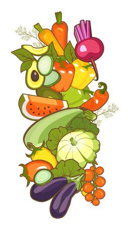 set of ripe vegetables