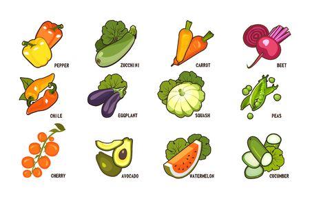 vegetables icon set Illustration