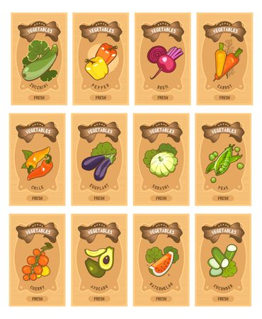 Set of card templates of healthy food stuffs vegetables on vertical vintage tags of tomato, beetroot. carrots, peppers, squash, eggplant,