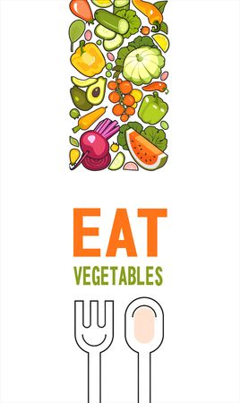 vertical illustration with ripe vegetables poster brochure on white background about healthy food