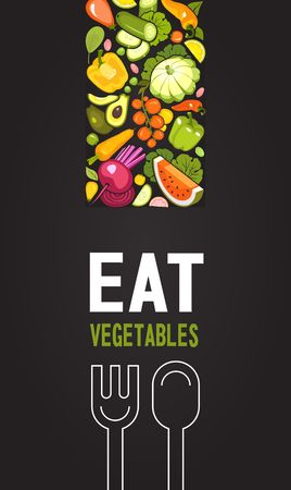 vertical illustration with ripe vegetables poster brochure on black background about healthy food 일러스트