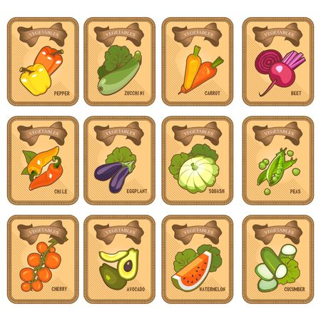 Set of vector card templates of healthy food stuffs vegetables on vertical vintage tags of tomato, beetroot. carrots, peppers, squash, eggplant,