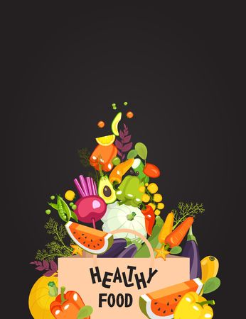 Vector illustration of a set of fresh fruits and vegetables dietary healthy food strewed into a shopping bag in a store on a black background