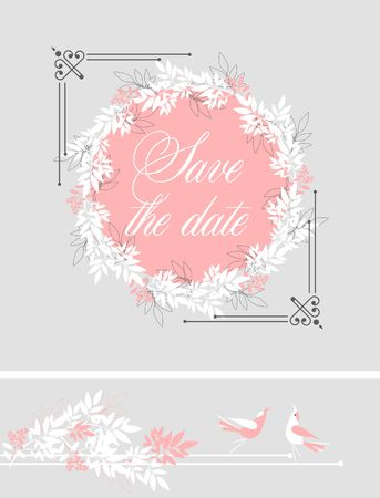 vector illustration template greeting card invitation for wedding decorated with eucalyptus leaves