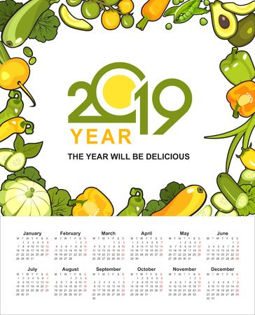 wall or table vertical calendar 2019 ripe yellow and green vegetables healthy food on a white background Illustration