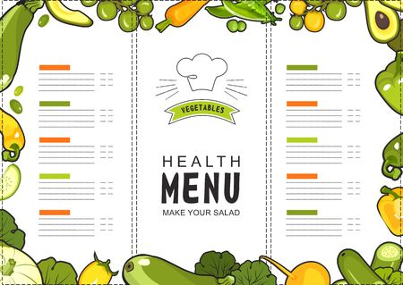 vector illustration menu for a proper food shop or restaurant with ripe vegetables yellow and green on white background landscape sheet format