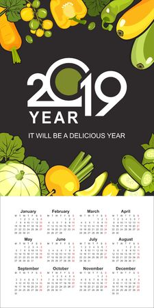 wall or table vertical calendar 2019 ripe yellow and green vegetables healthy food on a black background