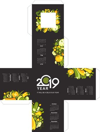 vector illustration template for giving a desktop office calendar in the form of a cube ripe vegetables yellow and green healthy food on a black background.