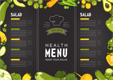 vector illustration menu for shop or restaurant with ripe vegetables yellow and green on black background format landscape horizontal sheet
