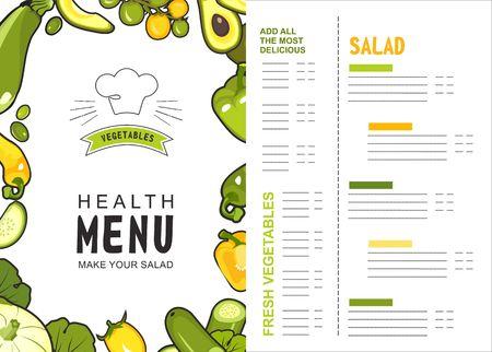 menu vector vertical illustration for shop or restaurant proper food with ripe vegetables two sides on white background