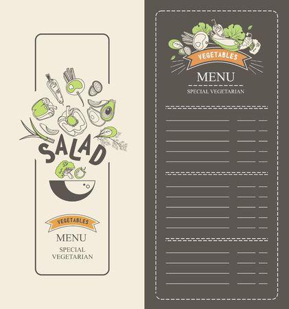 vector illustration vertical booklet menu salad for cafe special vegetarian food and healthy food vintage style black background Illustration