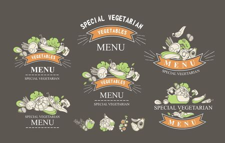 Set of labels with vegetarian and raw food diets, organic food, design elements of restaraan cafe packing organic products, detox drinks logo on a black background Illustration