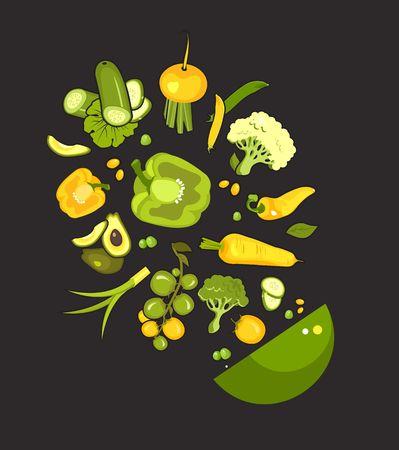 vector illustration set of fresh vegetables on a black background cooking food kitchen accessories, salad bowl Illustration