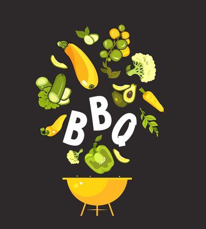 vector illustration vertical booklet menu barbecue, bbq for cafe special vegetarian food and healthy food vintage style black background Stok Fotoğraf - 114705766