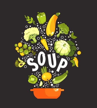 vector illustration set of fresh vegetables on a black background cooking food kitchen accessories, saucepan, first courses, soup