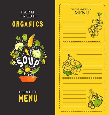 vector illustration vertical menu booklet for cafe special vegetarian food and healthy food vintage style black background first dish, soup Illustration