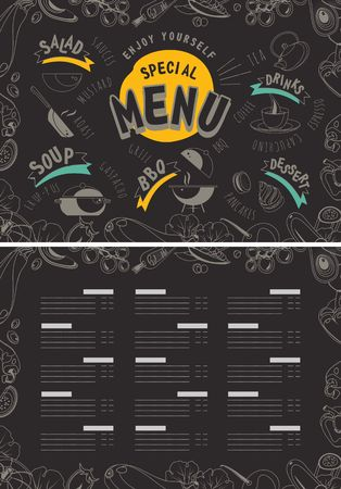 Vector illustration of a menu for a cafe or restaurant special offer for healthy eating vegetables healthy vegans food two pages, cover and product list template