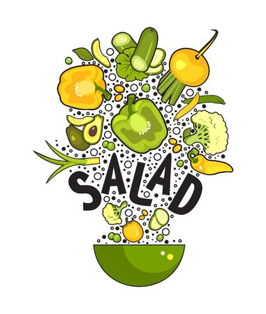 vector illustration set of fresh vegetables on a white background cooking food kitchen accessories, salad bowl Illustration