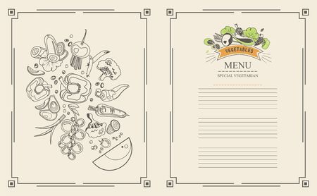 Vector illustration of a menu of two pages for a restaurant cafe collection of ripe vegetables style spot line, the second is a caller for the price list and wishes