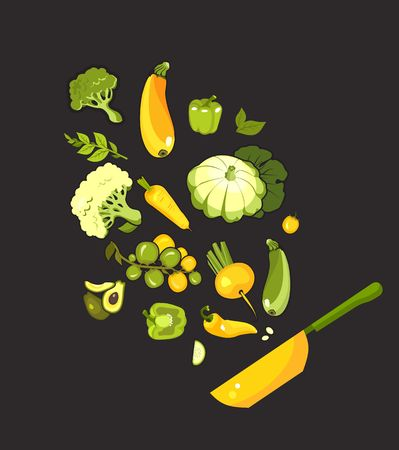 vector illustration set of fresh vegetables on a black background cooking food kitchen accessories, frying pan