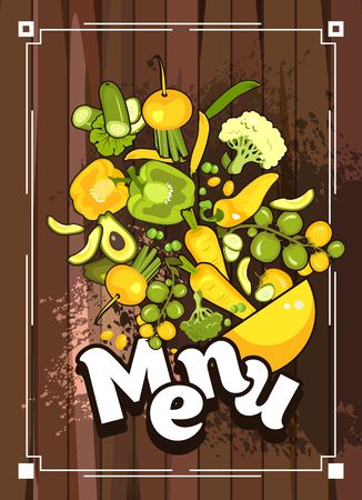 Vector illustration of a menu for a restaurant cafe on a wooden background a collection of ripe fresh vegetables