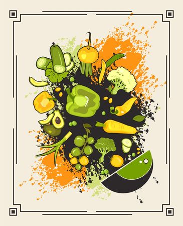 Vector illustration of fresh vegetables pour into a plate in retro style on a background of colored splashes Çizim