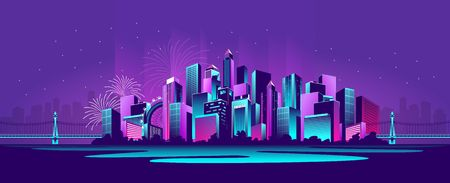 vector horizontal illustration neon-strewn night metropolis panoramic Illustration