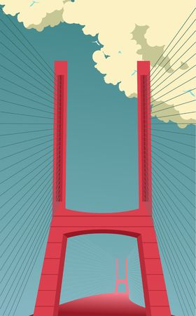 Big bridge vector vertical illustration front view full face construction, the road goes into the distance,