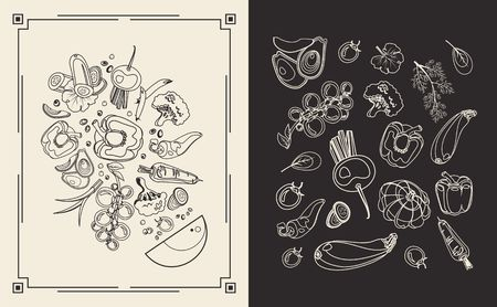 Vector illustration of a two-page menu for a restaurant cafe collection of ripe vegetables style line spot, black and white color