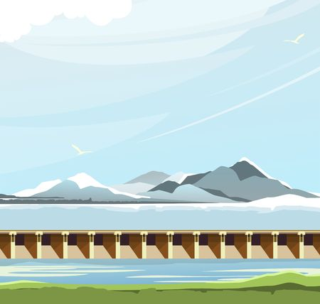 vector horizontal illustration of a reservoir, city dam, skyline highlands, floodgates