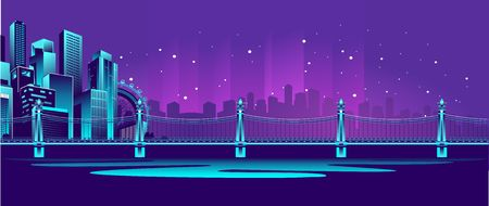 Horizontal vector illustration of a night neon glowing bridge over a canal, away silhouette of a night city