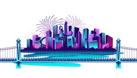 vector horizontal illustration of a neon-populated metropolis on a white background