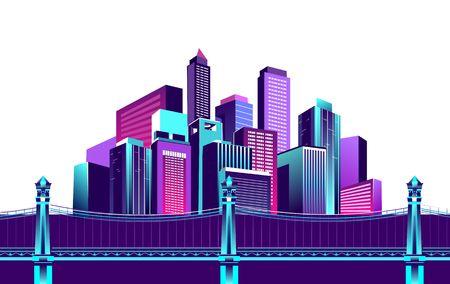 Ilustración vectorial ciudad de noche multicolor de colores neón en luces eléctricas puente sobre el canal a la megalópolis road fondo blanco.