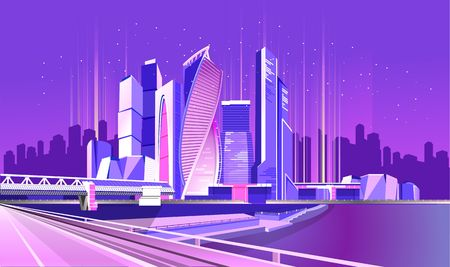 Vector neon city, night glowing business center of Moscow, skyscrapers standing on the river bank with a large bridge