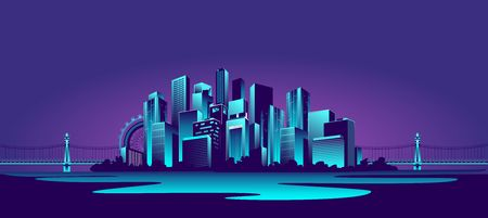 vector horizontal illustration of a neon-populated metropolis on