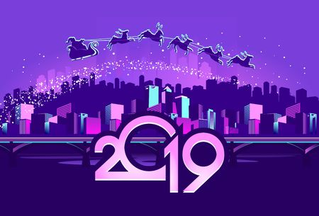 2019 calendar, vector illustration. night neon festive city, across the sky flies Santa Claus in a sleigh with a team of deer Illustration