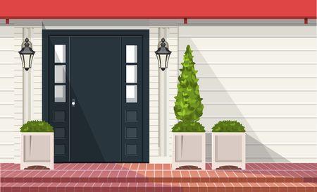 Gevel van gebouw, voordeur met buitenplanten in potten, vectorbouwelement