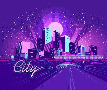 Night neon city, bridge going to skyscrapers, road inland , vector horizontal illustration