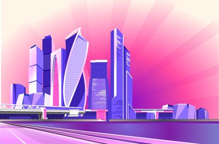 Vector illustration, Neon business center of Moscow against the background of the morning dawn sky