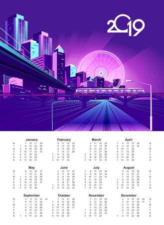 Neon night city in the light of spotlights and glowing rays, vector English calendar template 2019